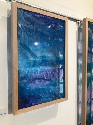 Brenda Stone  ''Vividly Indigo'  Resin on acrylic framed in solid beech