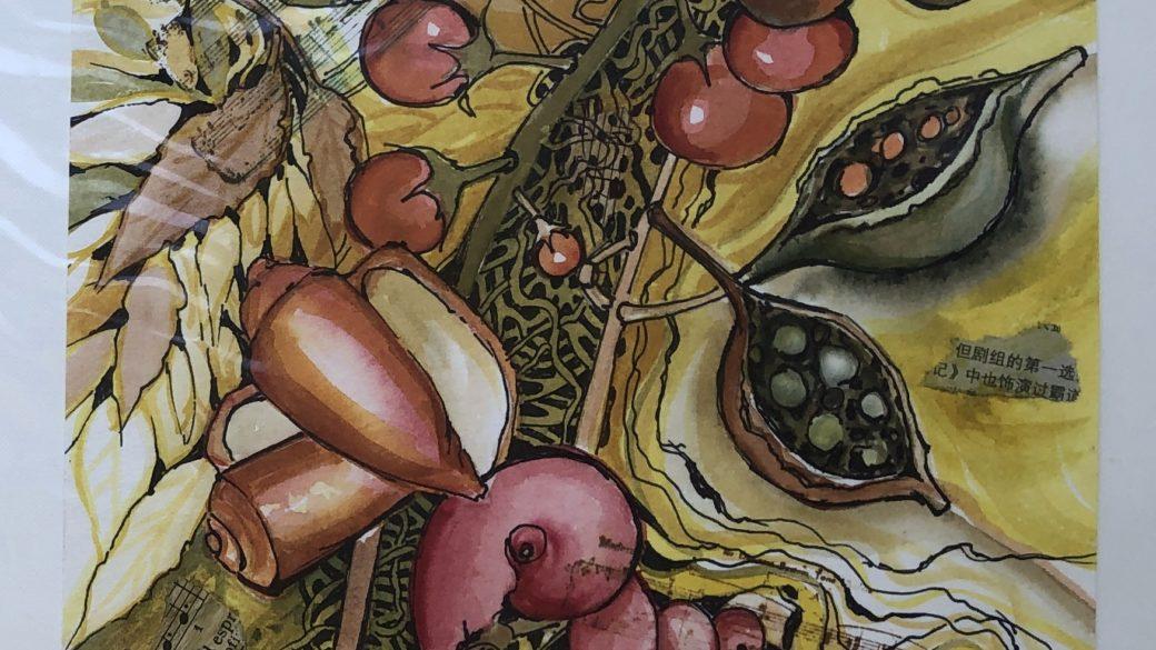 Cath Meharry. Seedpod study 1. Unframed original mixed media.