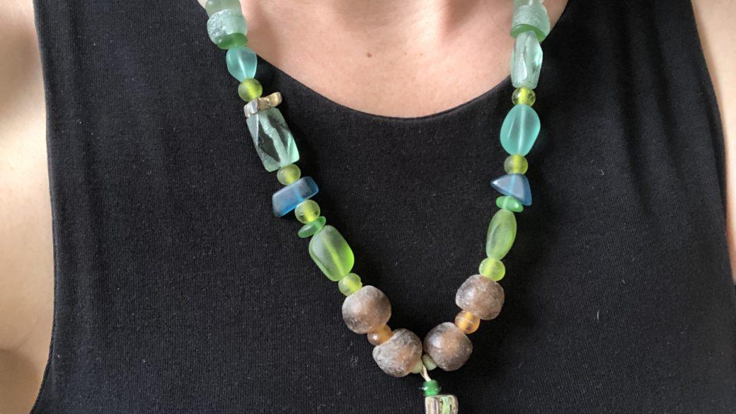 Sally Moroney  Beaded Necklace  Sea Glass Pendant